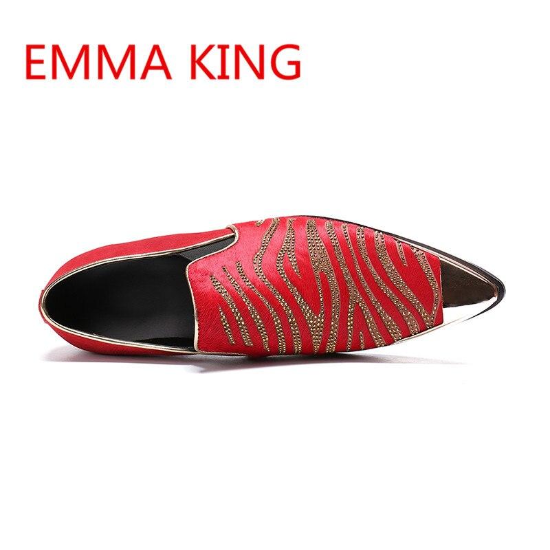 Vestir Picture Zapatos En Rojo De Casual Cuero Boda As Shown Emma Toe Lujo Hombre Partido Hombres 2018 Planos Metal Rey Slip In Rhinestone Tachonado YCYfwgHqx