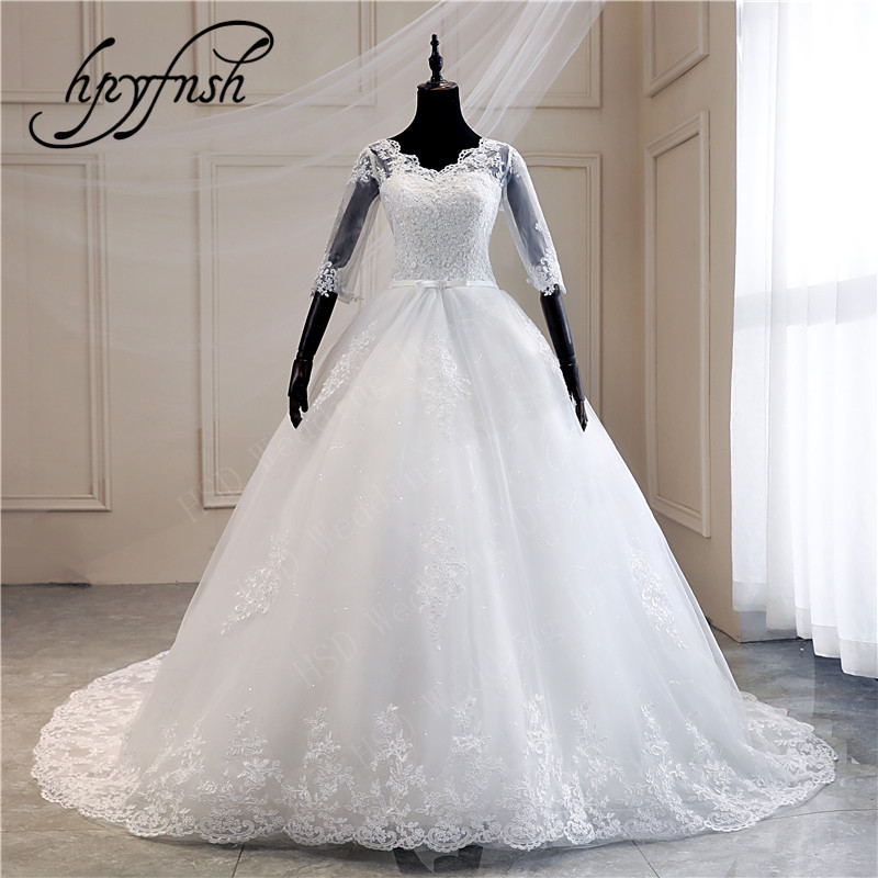 Real Photo Lace Embroidered Organza Tulle Sweetheart Off White Ivory Fashion 100cm Long Train Wedding Dress