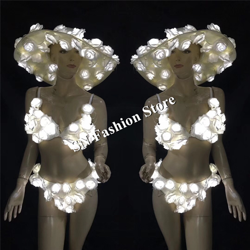 EC52 Ballroom dance led light costumes headdress luminous glowing women sexy stage show dresses bikini bra party club clothe dj