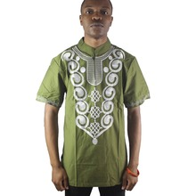 Africa Men`s Cotton Embroidery Folk Tops Mandarin Collar Batik Shirts for Men Wearing