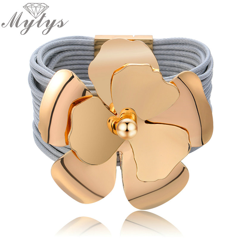 Mytys Multi Layer Rope Chain Leather Bracelet for Women Fashion Wide Bracelet Big Metal Flower Trendy Magnet Clasp B1099 B1100 fellowes 125