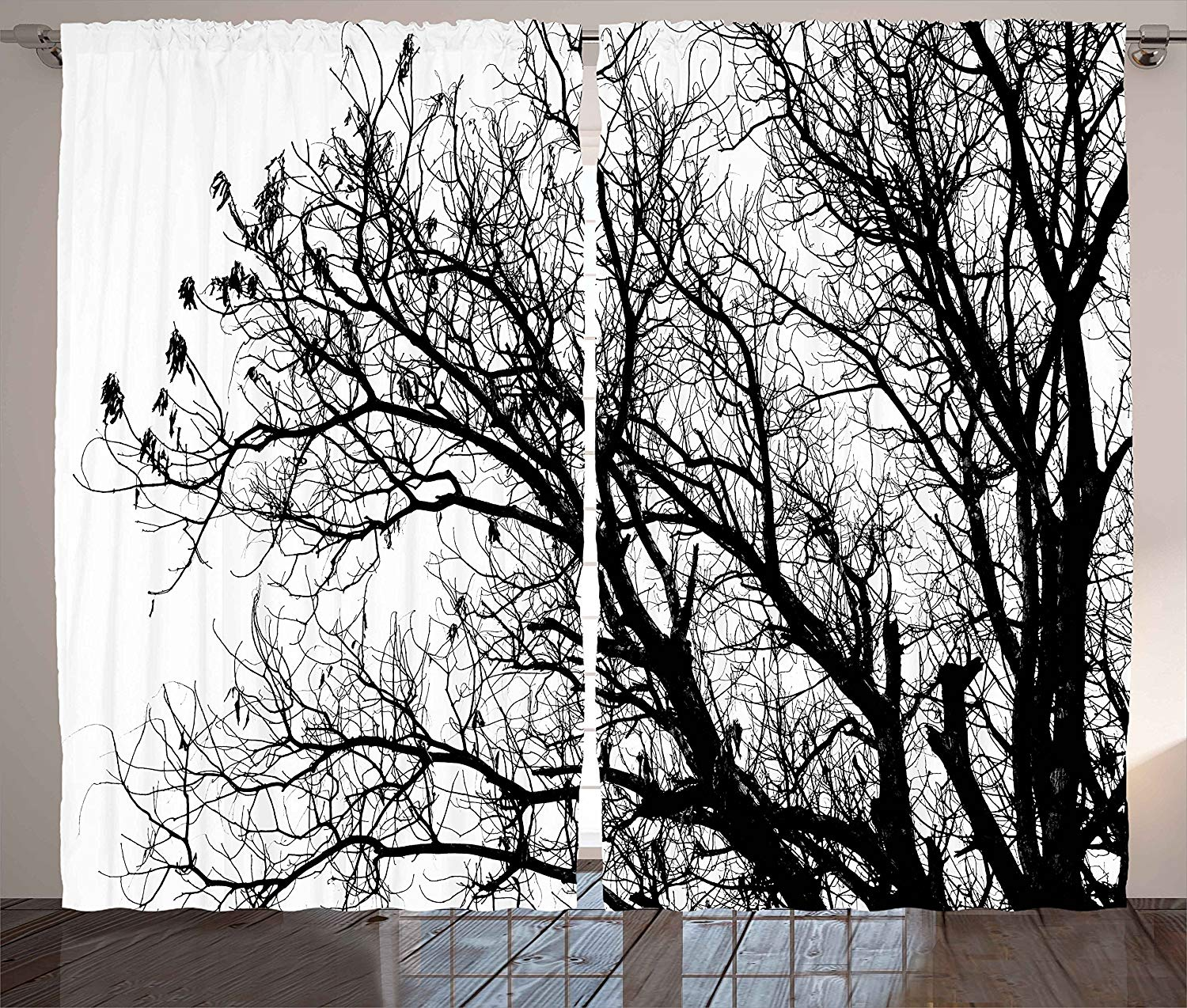 Nature Curtains Leafless Autumn Fall Tree Branches Tops Oak Forest Woodland Season Eco Theme Living Room Bedroom Window Drapes