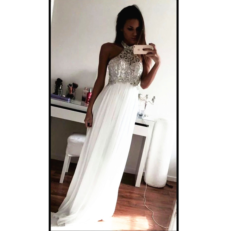 Amazing White Prom Dresses Halter Neckline Beaded Chiffon Draped A ...