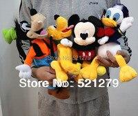 Free Shipping 4pcs Mickey Mouse Donald Duck GOOFy Dog Pluto Dog Plush Soft Toys Best Gift