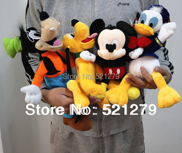 цена на 2017 new 4pcs Mickey mouse,Donald duck,GOOFy dog,Pluto dog plush soft toys,best gift for kids&son