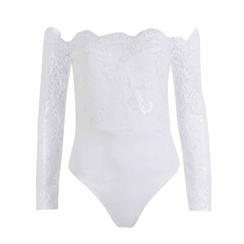 Phụ nữ của Phụ Nữ Mùa Xuân Mùa Hè Bodysuit Tắt Vai Dài Tay Áo Ren Nữ Thời Trang Dạo Phố Playsuit Romper Shorts Jumpsuit Yếm