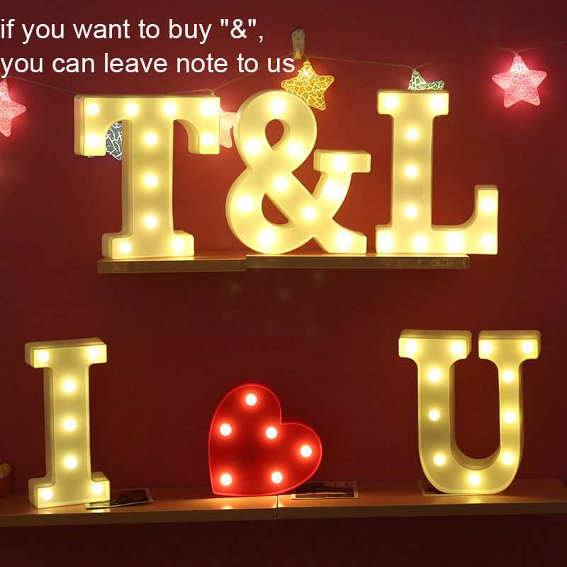 Image 2 - DIY 26 English Letter LED Night Light Marquee Sign Alphabet 3D Wall Hanging Night Light Home Wedding Birthday Party Decor-in Night Lights from Lights & Lighting