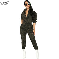 VAZN New 2018 Fashion Casual Women Camouflage Jumpsuits Sexy V Neck Full Sleeve Jumpsuits Ladies Hollow Out Jumpsuits KM1028