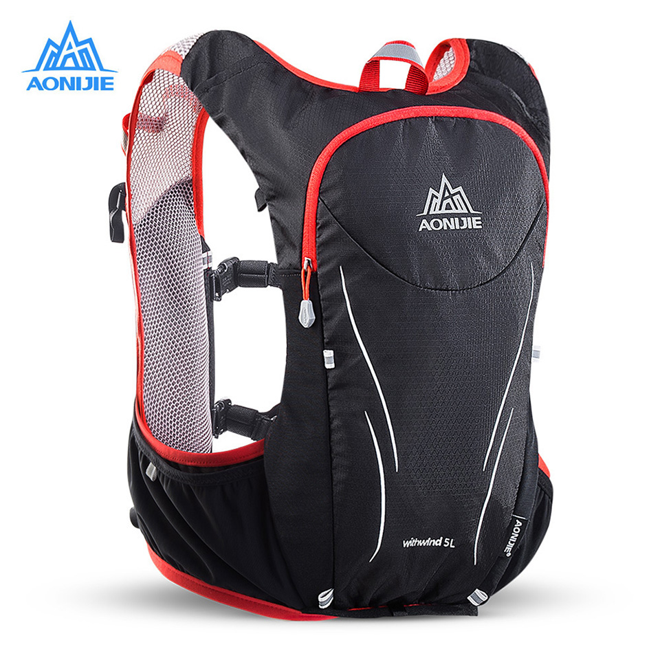 AONIJIE 5L Outdoor Running Bag Backpacks Marathon Reflective Hiking Cycling Backpack Hydration Vest Pack 2 Colors