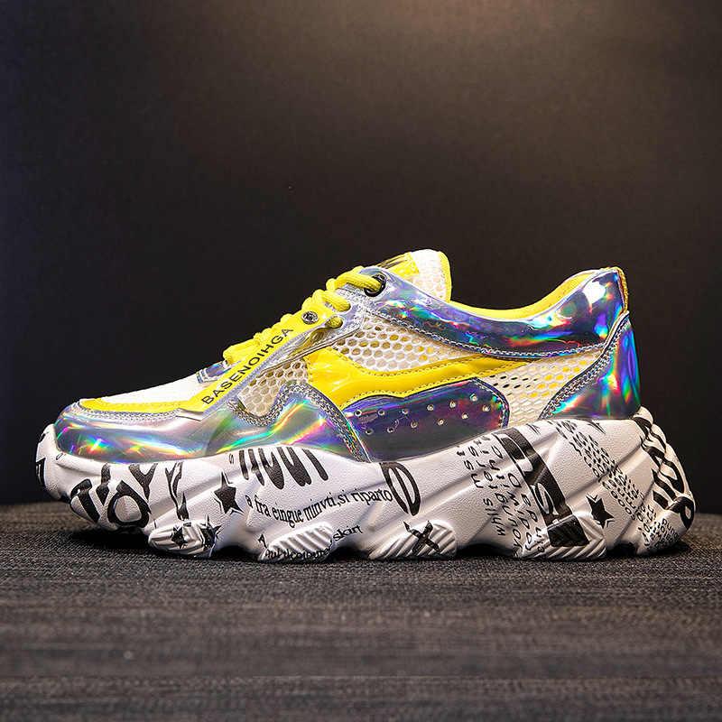 カジュアルシューズ女性メッシュ分厚いスニーカープラットフォーム zapatos デ mujer グラフィティ新 chaussures ファムレディースホワイトフットウェア通気性