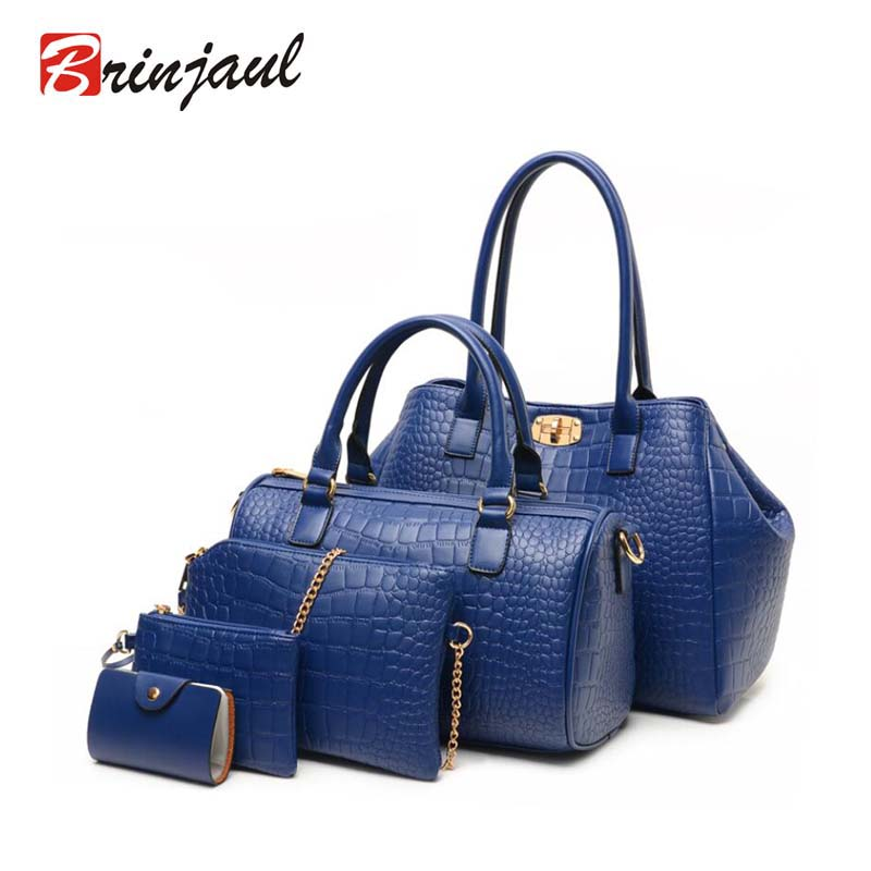 Brinjaul 2016 New 5 pcs women handbags set famous brand Women Bag Alligator Print Handbags Shoulder