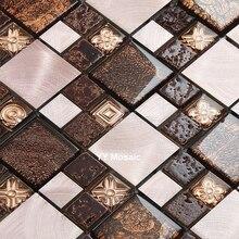 Azulejo de mosaico de cristal de piedra de Metal de 2017 Brwon para cocina, Fondo de baño, ducha, chimenea, TV, decoración de azulejo de pared