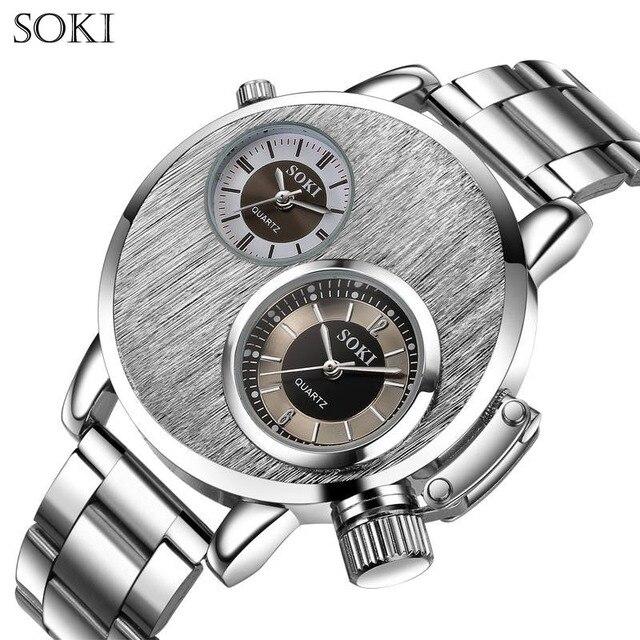 3d1e80fcd7f SOKI Moda Casual Esporte Exército Luxo dois movimentos De Quartzo-Relógio  de Aço Inoxidável Relógios