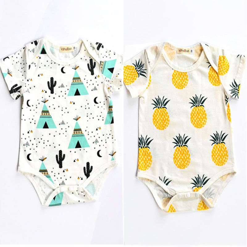 Summer Newborn Toddler Kids Baby Girl Boy Clothes Bodysuit Jumpsuit Outfits 0-2 Y