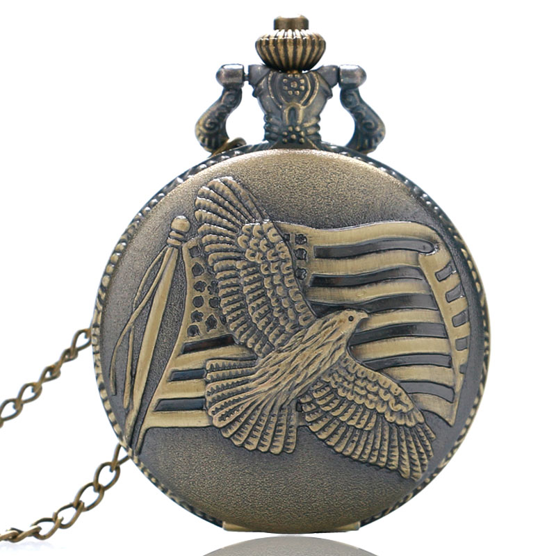 YISUYA Antique Bronze Style Peace Dove US Flag Vintage Pendant Necklace Pocket Watch Men Women Gift
