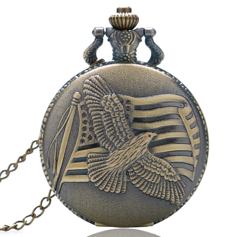 YISUYA Antique Bronze Style Peace Dove US Flag Vintage Pendant Necklace Pocket Watch Men Women Gift