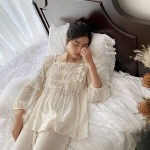 Image 2 - Üstün yumuşak keten pamuk kadın yay pijama setleri kadın gevşek sevimli pijama bahar sonbahar rahat pijama artı boyutu