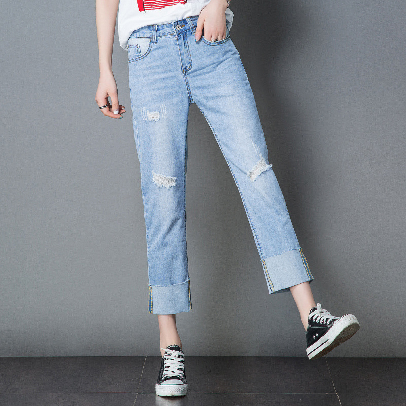 c44116a592 Women straight jeans pants summer casual ladies ripped loose fit cropped  jeans female fashion distressed denim jeans trousers-in Jeans from Women's  Clothing ...