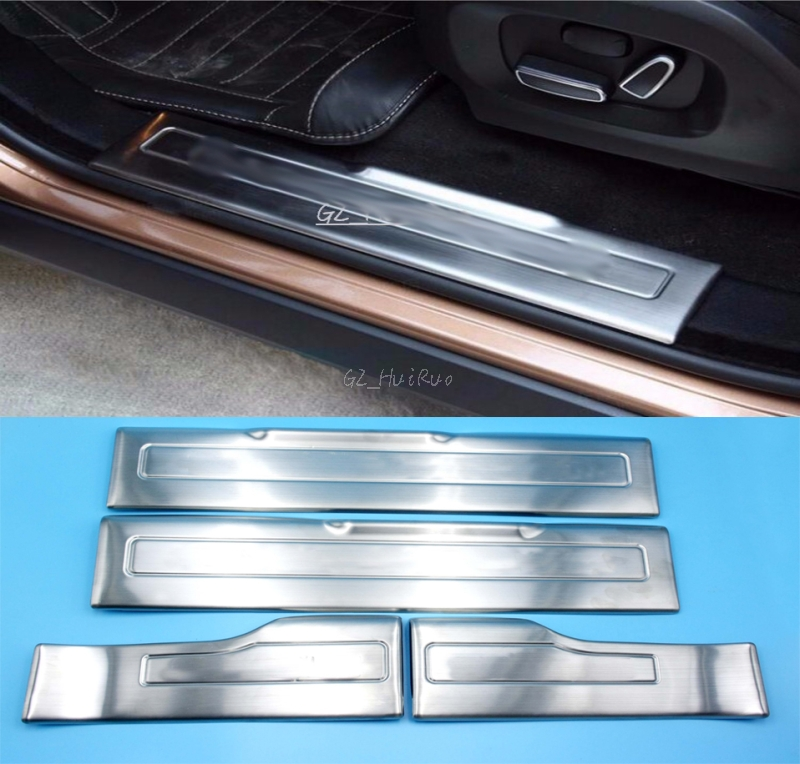 Stainless Steel Door Sill Scuff Plate Pad Threshold For Range Rover Evoque 2009 2010 2011 2012 2013 2014 2015 Car styling for land rover range rover sport stainless inside door sill scuff plate 2014 2017 4pcs silver black