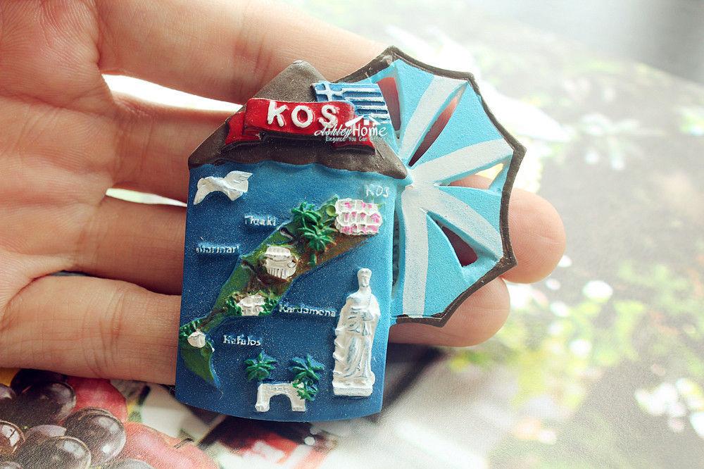 KOS ISLAND GREECE Tourist Travel Souvenir 3D Resin Decorative Refrigerator Magnet Craft GIFT