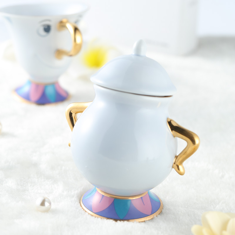 Hot Sale Cartoon Skønhed og Beast Tea Set Tekande Mrs Potts POT Chip Cup Mug Sukker Pot Bowl Dejlig Xmas Gave Drop Shipping