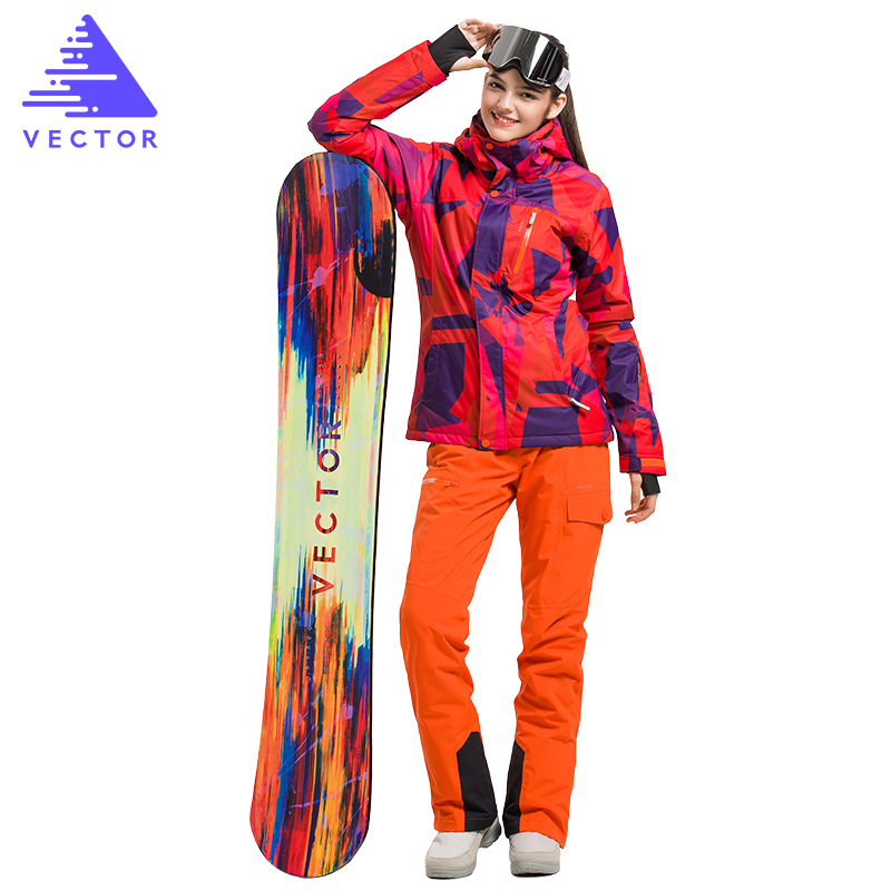 Vector Brand Skiing Jacket Pants Women Warm Winter Ski Snowboarding Suit Waterproof Windproof Women`s Ski Wear HXF70002 men and women winter ski snowboarding climbing hiking trekking windproof waterproof warm hooded jacket coat outwear s m l xl