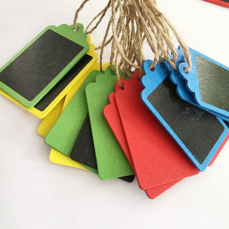Mixed10pcs Mini Colorful Wooden Hanging Blackboard With String Chalkboard Luggage Label Message Board Hang Tags Office Supplies
