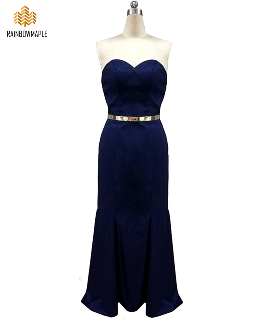 325864ebdd Elegant Satin Long Mermaid Bridesmaid Dresses With Gold Belt Navy Blue  Strapless Off The Shoulder Bridesmaid Dress Prom Gowns