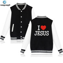 7119826c94c Jesus Christ design baseball Jacket coat men women I LOVE JESUS print  uniform hoodies sweatshirt fashion bomber tracksuit tops