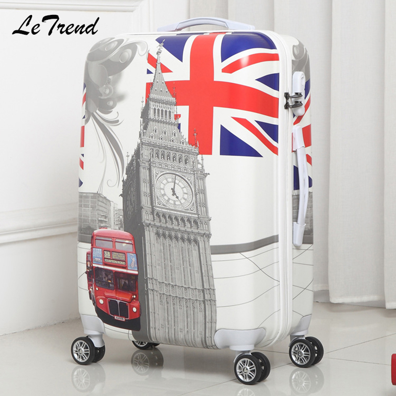 LeTrend Personality British Style Rolling Luggage Spinner Men Cabin Suitcase Wheels Trolley Women Carry On Travel Duffle Trunk