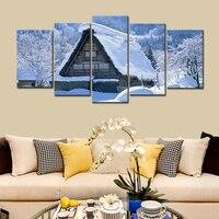 Tamanho grande 5 Peça Visão HD Cópia Da Lona da Neve do Inverno neve Cenário Decoração de Casa Sala Quarto Parede Pictures Art pintura