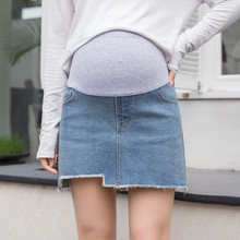 9818# 2019 Summer Fashion Hot Denim Maternity Skirts High Waist Adjustable Belly Shorts Clothes for Pregnant Women Pregnancy elastic waist belly maternity long skirts bottoms clothes for pregnant women autumn charming knitted pregnancy skirts pregnant
