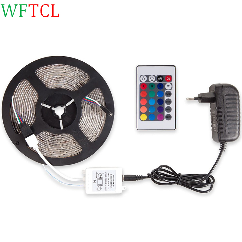 5m RGB 3528 LED Strip Light DC12V Non-waterproof fita de led 300leds Flexible Ribbon Tape 24 Key Controller 3A Power Adapter