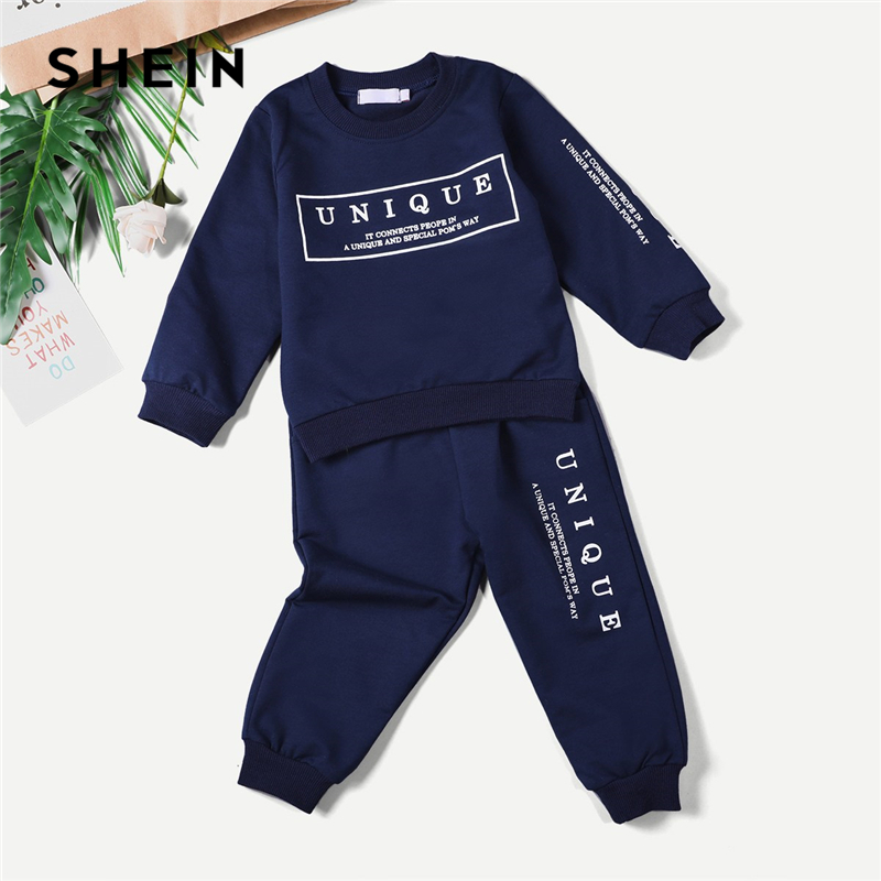 SHEIN Kiddie Navy Toddler Boys Letter Print Sweatshirt With Pants Children Clothes 2019 Spring Long Sleeve Casual Kids Suit Sets feather print sweatshirt