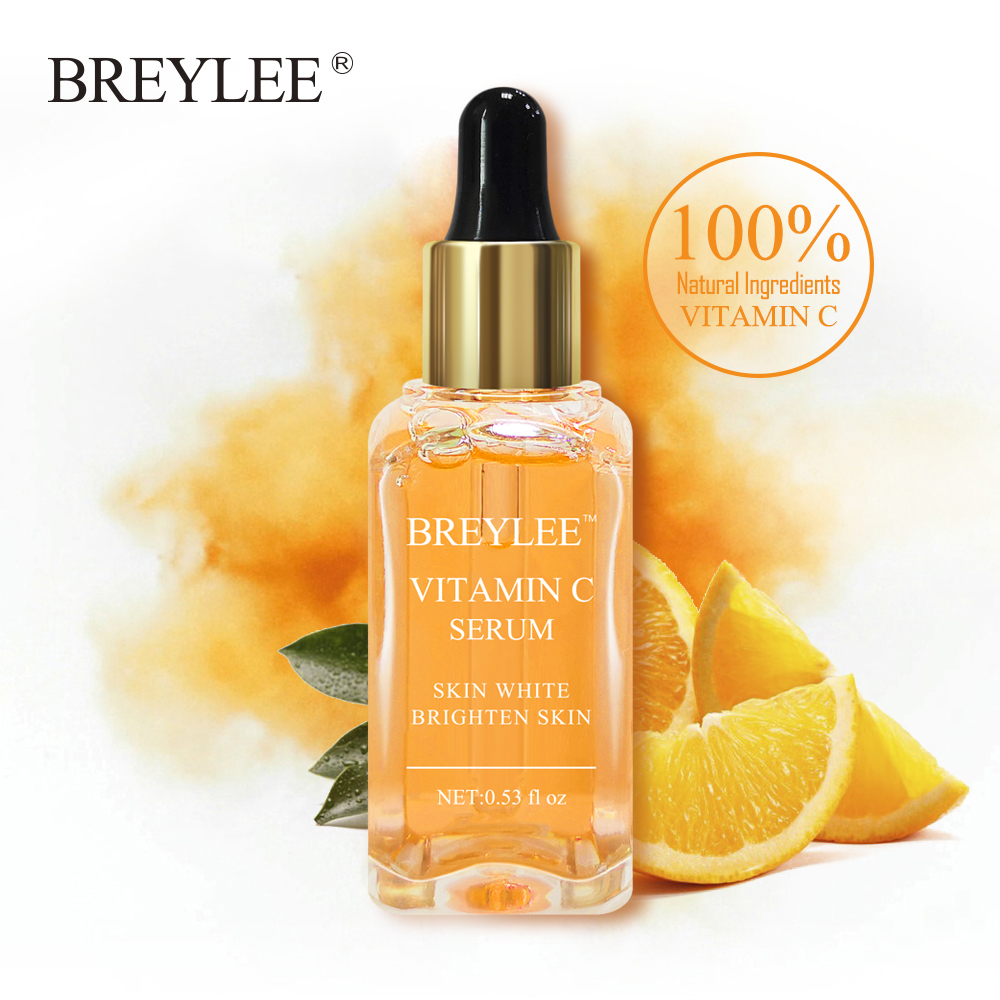 BREYLEE Vitamin C Whitening Serum Brighten Skin Face Skin Care Fade Dark Spots Freckle 100% Natural Ingredients Anti-aging Serum