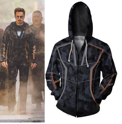 Avengers Infinity War Iron Man Cosplay Costume Hoodie Tony Stark Jacket Sweatshirt Coat