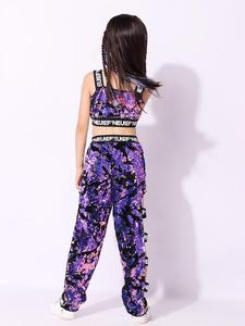 Image 4 - Girls Sequins Hip hop Jazz Stage Dance Costume Street  Dancing Crop Tops Pants Outfits Kids Dancewear Purple