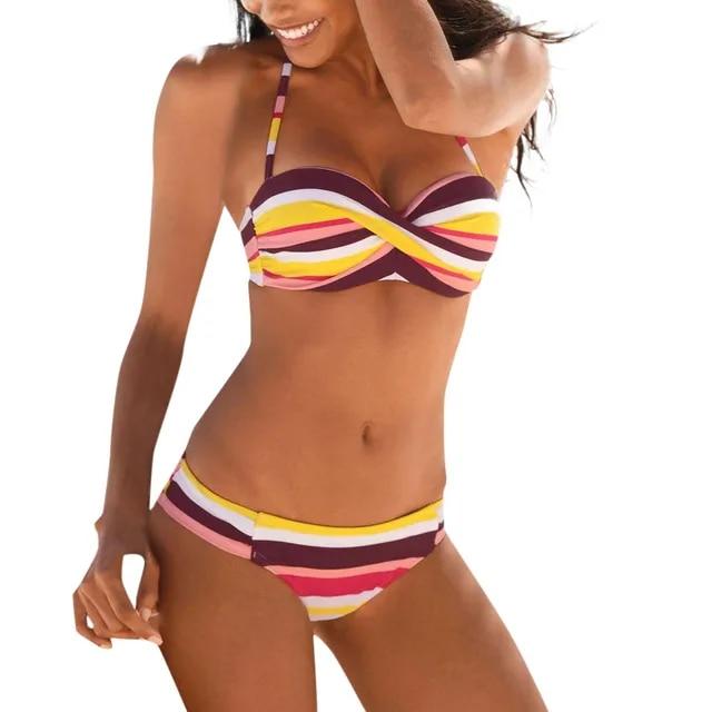MUQGEW 2019 Hot Sale New Women Boho Stripes Halter Cross Patchwork Push Up Bandeau Bikini Set Two Piece Swimsuits