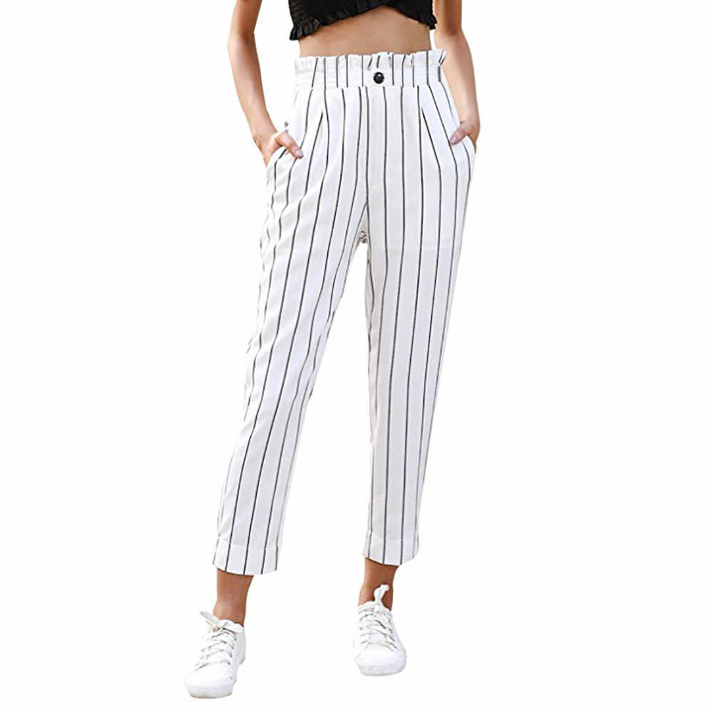 SAGACE Summer Women's Pants 2019 Striped Slim Straight Leg Casual Button Pants With Pockets pants women pants Female Clothes new