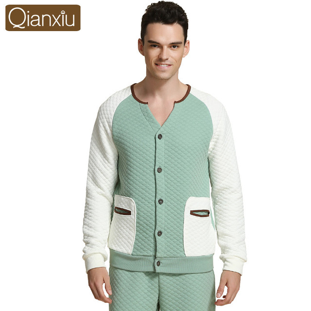 9b78e87568 Qianxiu moda pijama hombres mujeres invierno pyjamassets masculino espesar  algodón lounge wear parejas homewear casual 1555