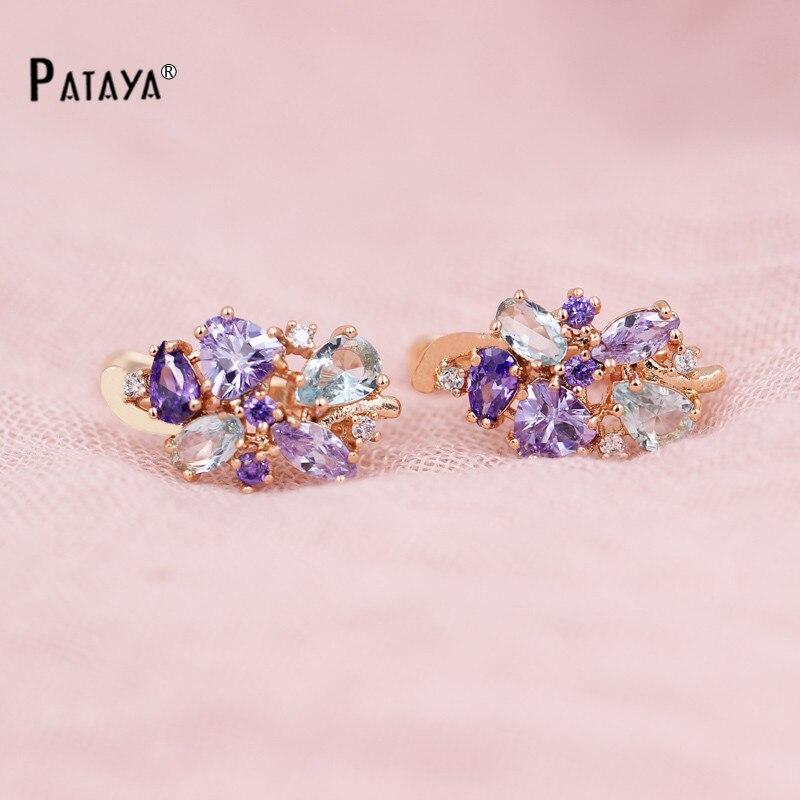 PATAYA Multi-Colored Natural Cubic Zirconia Long Earrings 585 Rose Gold RU Hot Exclusive Design Jewelry Women Luxury Earrings