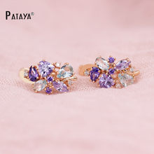 PATAYA Multi-Colored Natural Cubic Zirconia Long Earrings 585 Rose Gold RU Hot Exclusive Design Jewelry Women Luxury Earrings(China)