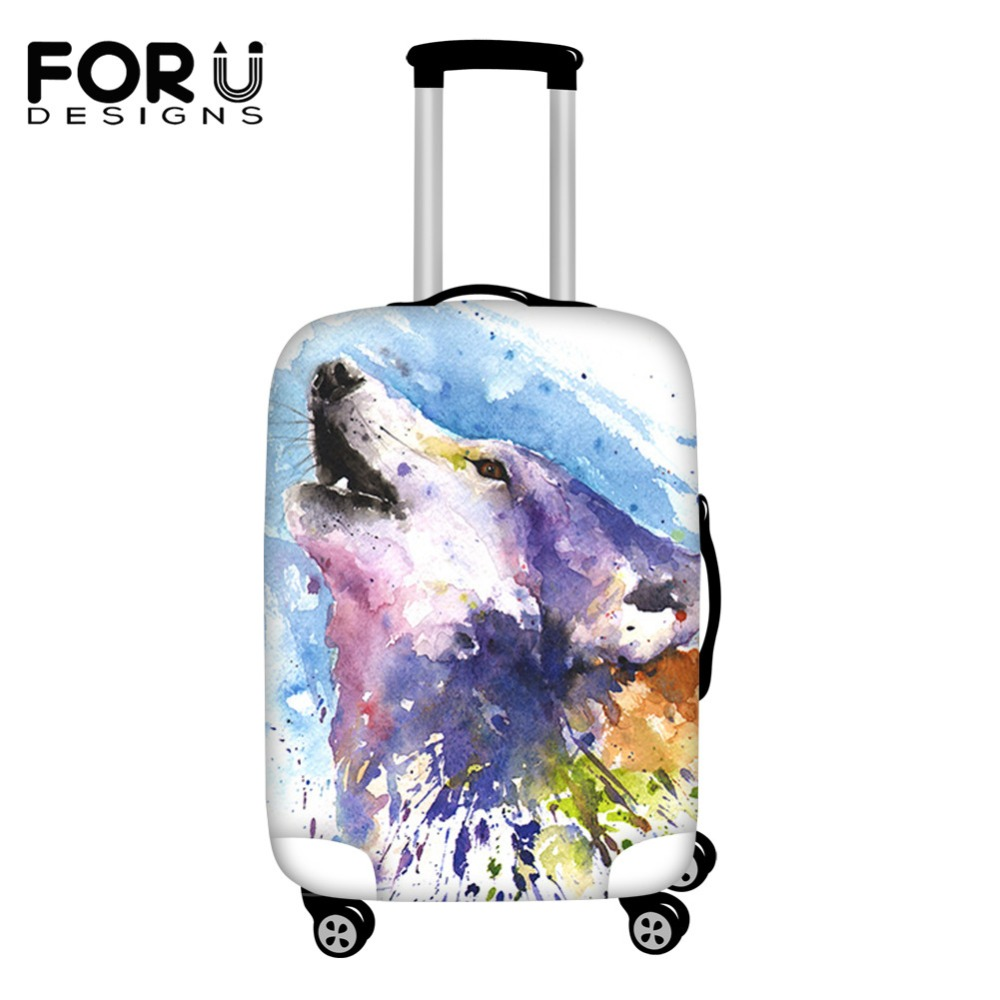 FORUDESIGNS 3D Wolf Watercolor Painted Print Accessories Luggage Protective Suitcase Case For 18-30inch Rain Waterproof Covers