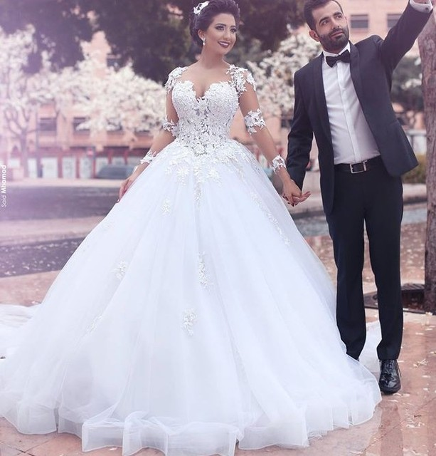 lindo tulle applique lace sheer long sleeve ball gown camo wedding