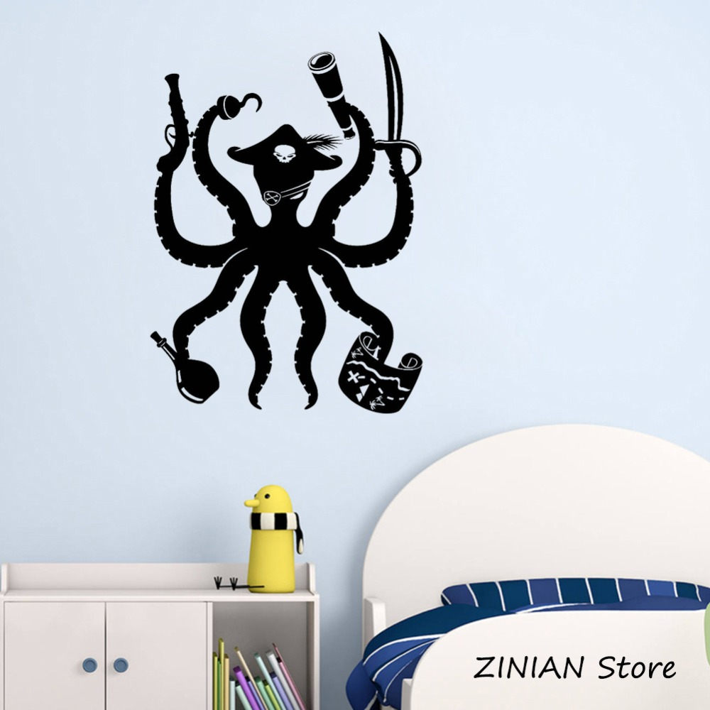 Octopus Pirate Wall Art Stickers Children Bedroom Decor Adventures Kids Room  Sticker Funny Animal Wall Decals Removable Z097 In Wall Stickers From Home  ...
