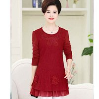 Mid length bottoming shirt plus velvet middle aged warm double layer embroidered T shirt P8907