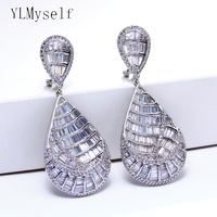 Very beautiful Long big earrings pave AAA cubic zircon crystal Women large dangling earring luxury Jewelry party Accessories