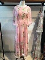 Chiffon 2019 High Quality New Fashion Summer beach Dress Floral print Diamonds big Flare Sleeve O Neck A Line long pink dress