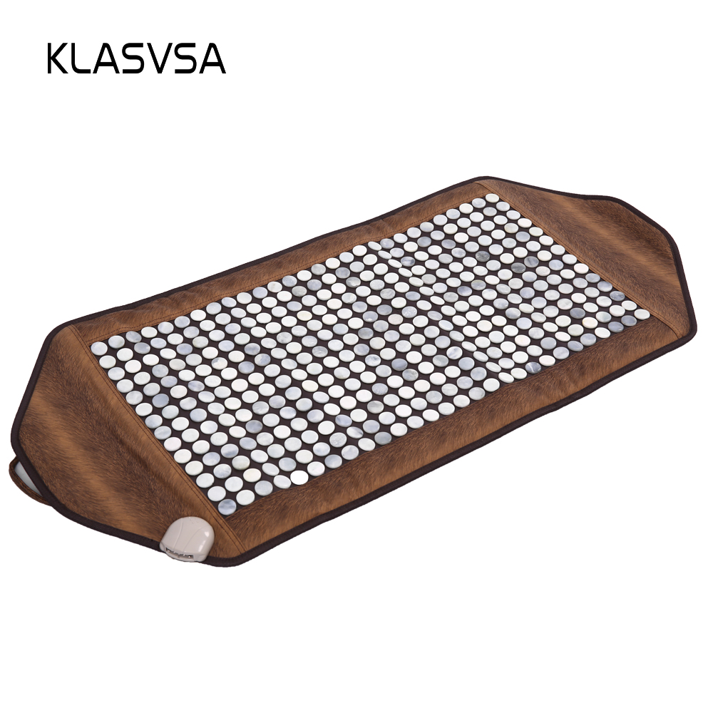 KLASVSA Infrared Heating Jade Stone Mat Massage Physical Therapy Body Back Massage Mattress Pad Pain Relief Stone massager relax pop relax electric vibrator jade massager light heating therapy natural jade stone body relax handheld massage device massager