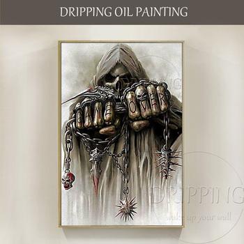 Free Shipping Handmade Modern Abstract Death Oil Painting on Canvas Horrible Death Oil Painting for Party Wall Decoration